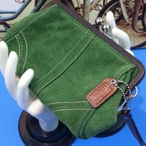 "COACH ""Olive Suede & Leather"" Wristlet..NWOT"
